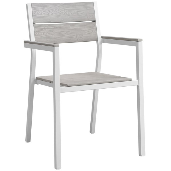Modway Furniture Maine White Light Gray Outdoor Dining Armchair EEI-1506-WHI-LGR