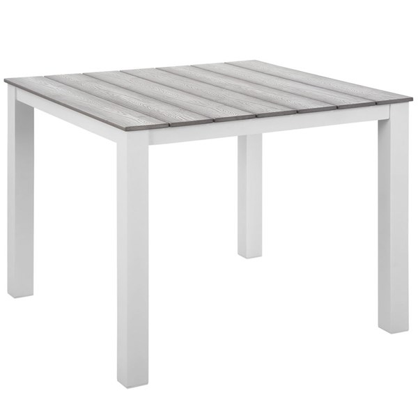 Maine Modern White Light Gray Wood 40 Inch Outdoor Patio Dining Table EEI-1507-WHI-LGR