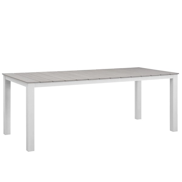 Maine Modern White Light Gray Wood 80 Inch Outdoor Patio Dining Table EEI-1509-WHI-LGR