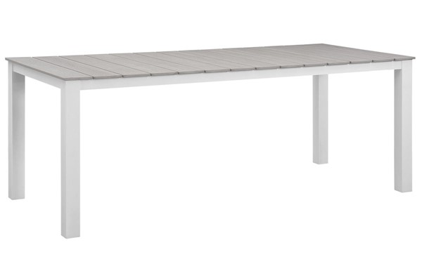 Modway Furniture Maine White Light Gray 80 Inch Outdoor Dining Table EEI-1509-WHI-LGR