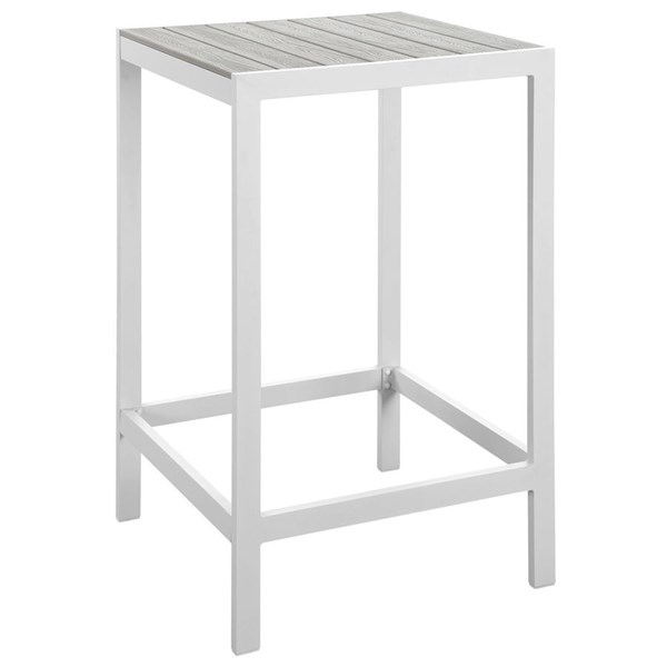 Modway Furniture Maine White Light Gray Outdoor Bar Table EEI-1511-WHI-LGR