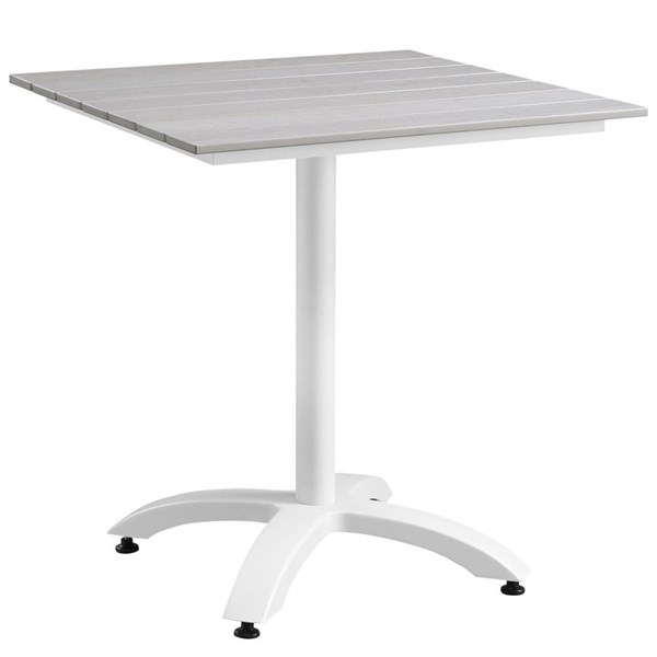 Modway Furniture Maine White Light Gray 28 Inch Outdoor Dining Table EEI-1514-WHI-LGR