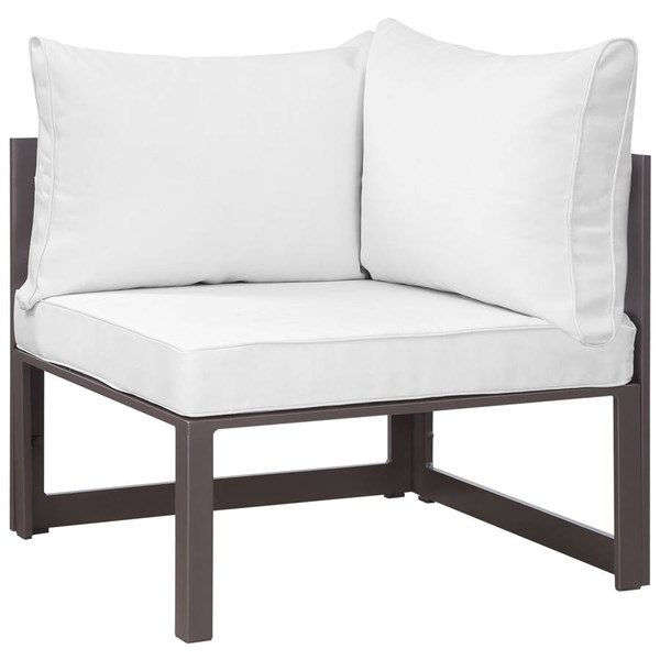 Modway Furniture Fortuna Brown White Outdoor Corner Armchair EEI-1518-BRN-WHI