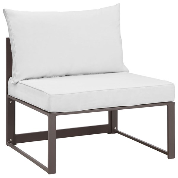 Modway Furniture Fortuna Brown White Armless Outdoor Chair EEI-1520-BRN-WHI