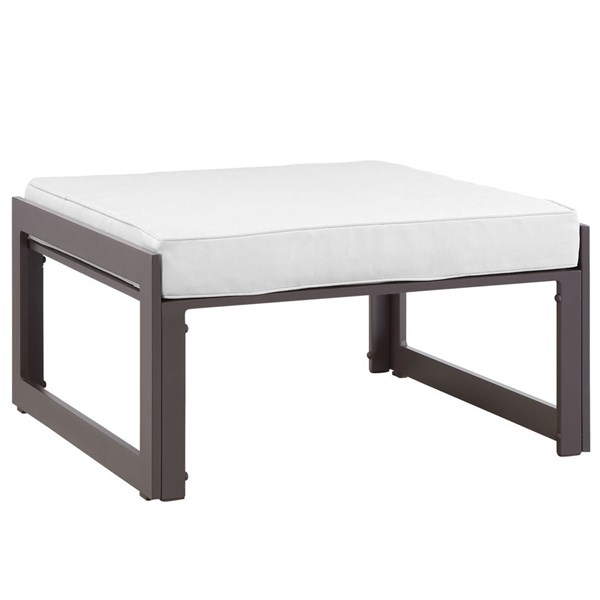 Fortuna Modern Brown White Fabric Aluminum Outdoor Patio Ottoman EEI-1521-BRN-WHI