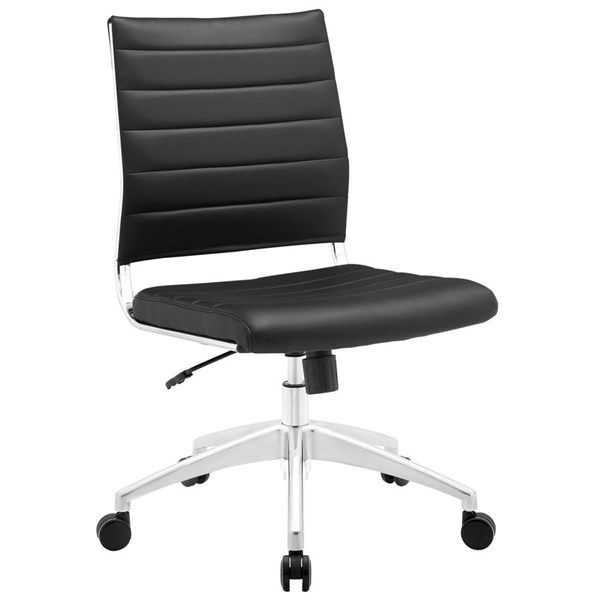 Jive Modern Black Vinyl Aluminum Armless Mid Back Office Chair EEI-1525-BLK