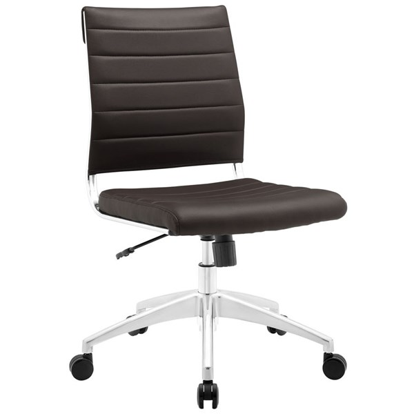 Jive Modern Brown Vinyl Aluminum Armless Mid Back Office Chair EEI-1525-BRN