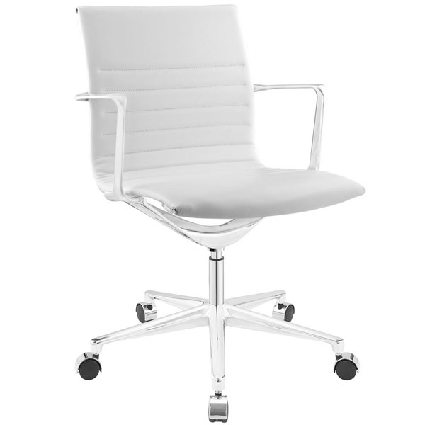 Vi Modern White Vinyl Aluminum Mid Back Office Chair EEI-1526-WHI