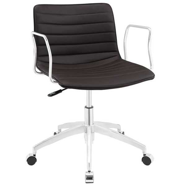 Celerity Modern Brown Vinyl Wood Steel Office Chair EEI-1528-BRN