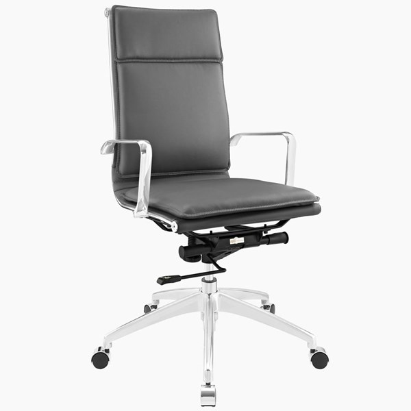 Sage Modern Gray Vinyl Aluminum Highback Office Chair EEI-1529-GRY
