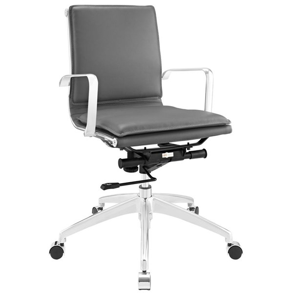 Sage Modern Gray Vinyl Aluminum Mid Back Office Chair EEI-1530-GRY