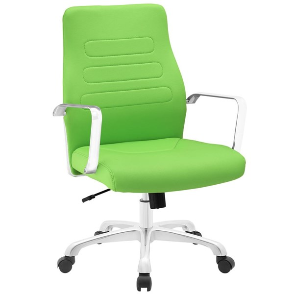 Depict Modern Bright Green Vinyl Aluminum Mid Back Office Chair EEI-1531-BGR