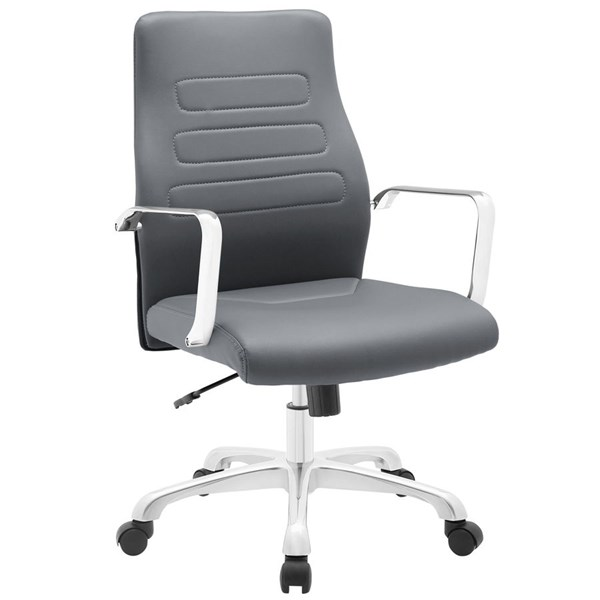 Depict Modern Gray Vinyl Aluminum Mid Back Office Chair EEI-1531-GRY