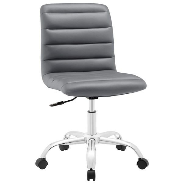 Ripple Modern Gray Vinyl Metal Armless Mid Back Office Chair EEI-1532-GRY
