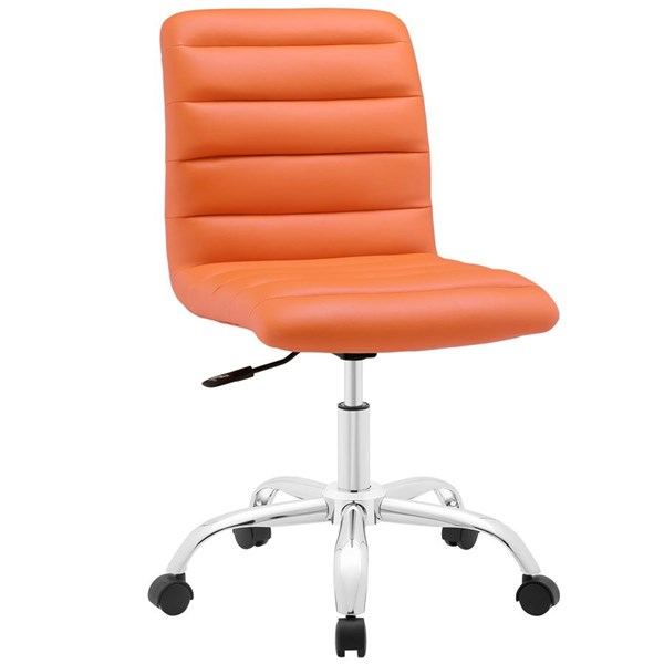 Ripple Modern Orange Vinyl Metal Armless Mid Back Office Chair EEI-1532-ORA