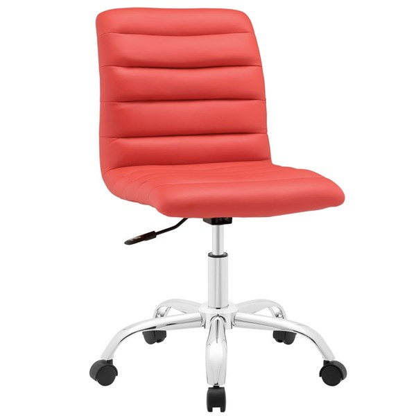 Ripple Modern Red Vinyl Metal Armless Mid Back Office Chair EEI-1532-RED