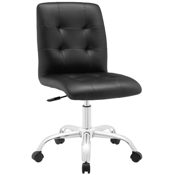 Prim Modern Black Faux Leather Steel Armless Mid Back Office Chair EEI-1533-BLK