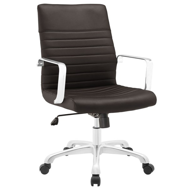 Finesse Modern Brown Vinyl Aluminum Mid Back Office Chair EEI-1534-BRN