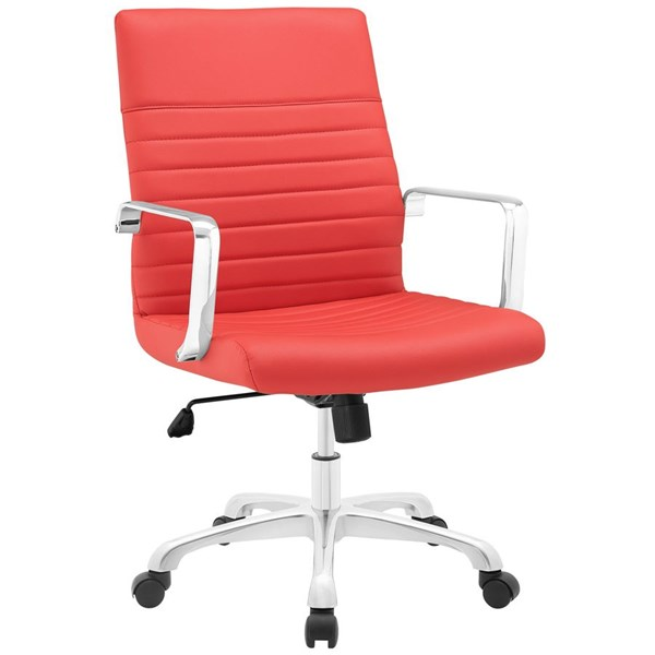 Finesse Modern Red Vinyl Aluminum Mid Back Office Chair EEI-1534-RED