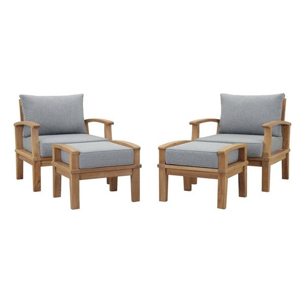 Modway Furniture Marina Gray 4pc Outdoor Teak Chair and Ottoman Sets EEI-1537-NAT-OCH-OTT-SET-VAR