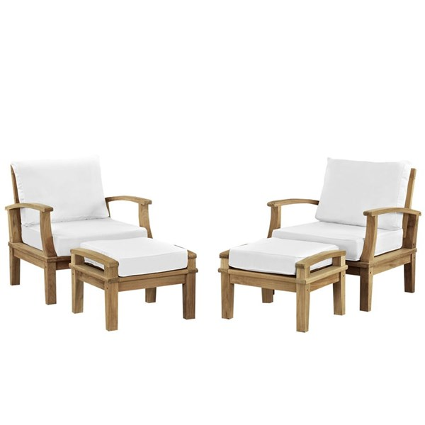 Marina Modern Natural White Wood 4pc Outdoor Chairs & Ottoman Sets EEI-1537-NAT-WHI-SET