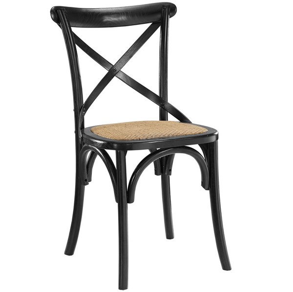 Gear Rustic Black Wood Rattan Dining Side Chair EEI-1541-BLK