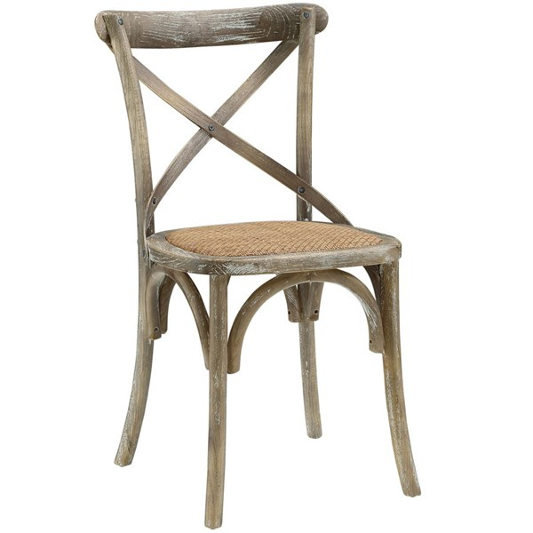 Gear Rustic Gray Wood Rattan Dining Side Chair EEI-1541-GRY