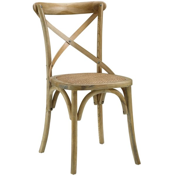 Gear Rustic Natural Wood Rattan Dining Side Chair EEI-1541-NAT