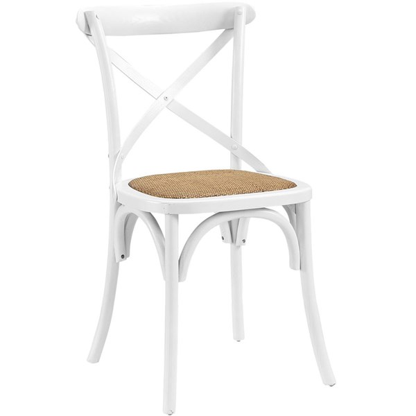 Gear Rustic White Wood Rattan Dining Side Chair EEI-1541-WHI