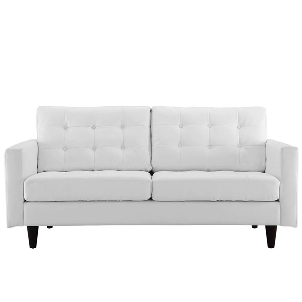 Empress Modern White Bonded Leather Solid Wood Loveseat EEI-1546-WHI