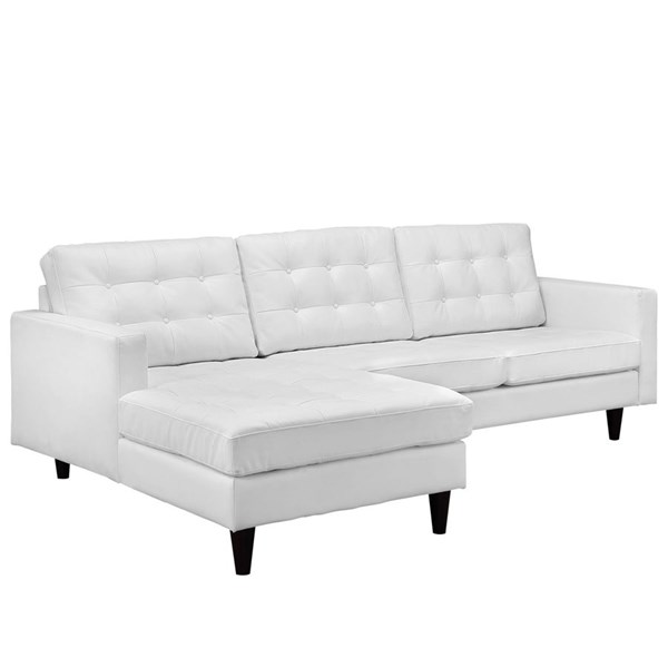 Empress White Bonded Leather Solid Wood Left Facing Sectional EEI-1548-WHI