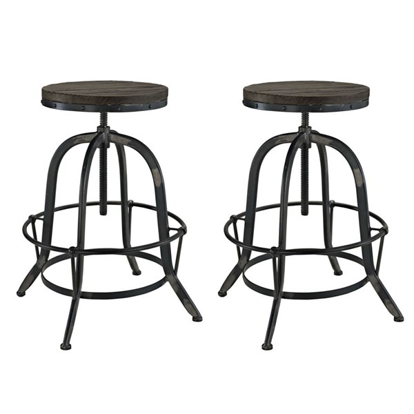 2 Collect Modern Black Wood Metal Bar Stools EEI-1603-BLK-SET