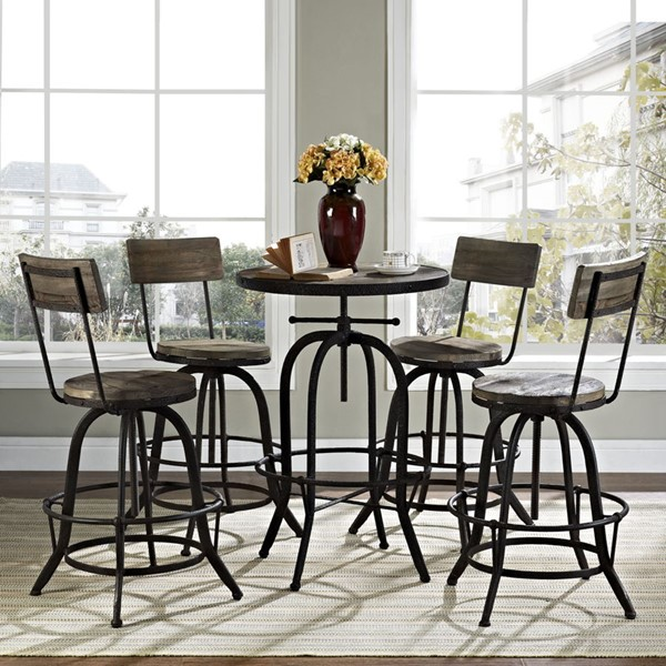 Modway Furniture Gather Brown 5pc Dining Set EEI-1608-BRN-SET