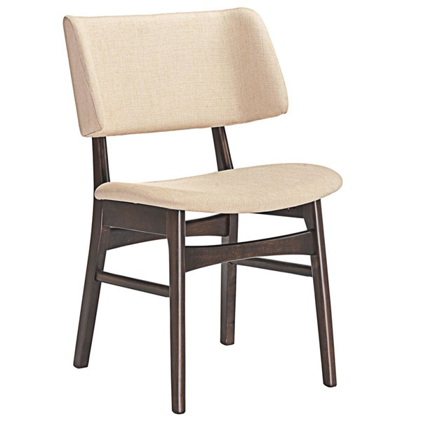Vestige Modern Walnut Beige Wood Fabric Dining Side Chairs EEI-1610-WAL-DR-CH-VAR