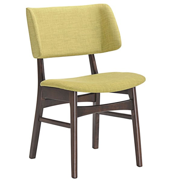 Vestige Modern Walnut Green Wood Fabric Dining Side Chair EEI-1610-WAL-GRN