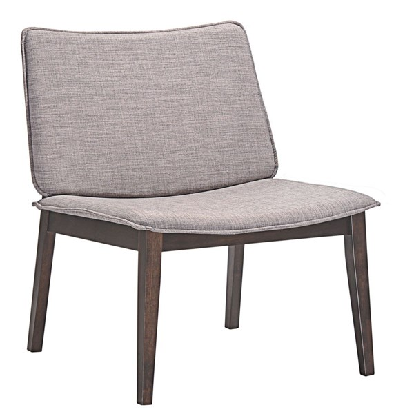 Evade Modern Walnut Gray Fabric Wood Lounge Chair EEI-1612-WAL-GRY