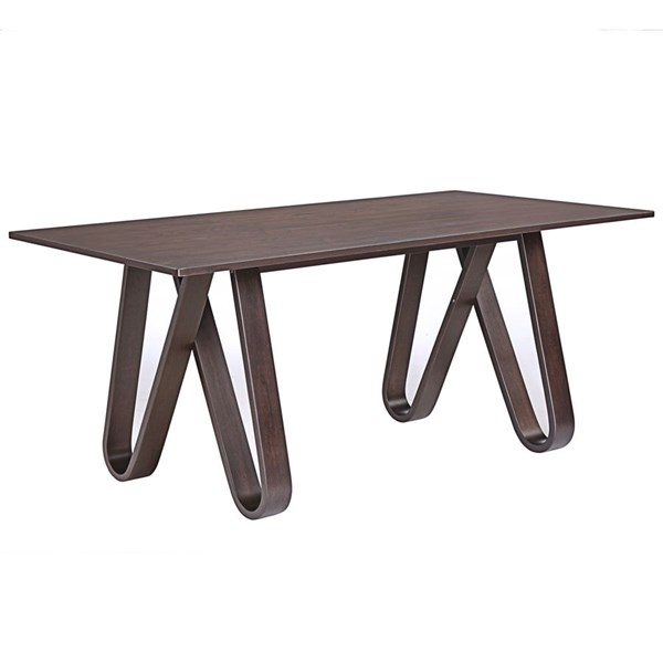 Cision Modern Walnut Wood Rectangle Dining Table EEI-1621-WAL