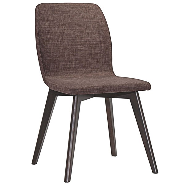 Proclaim Modern Walnut Mocha Wood Fabric Dining Side Chair EEI-1622-WAL-MOC
