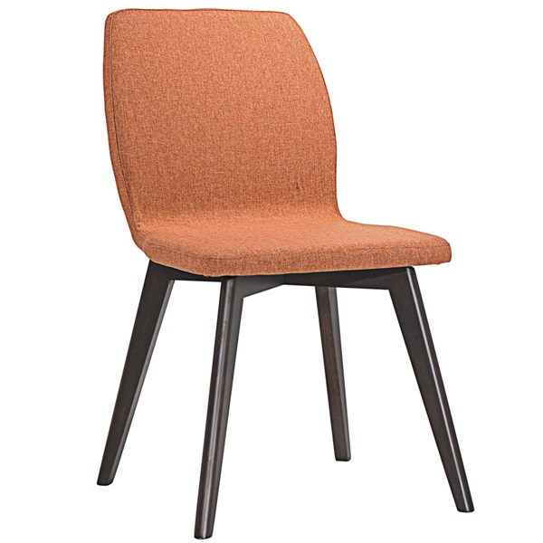 Proclaim Modern Walnut Orange Wood Fabric Dining Side Chair EEI-1622-WAL-ORA