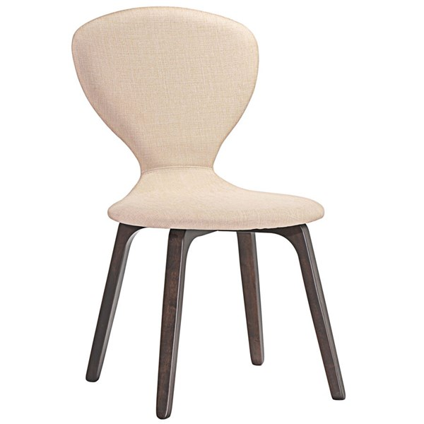 Tempest Modern Walnut Beige Wood Fabric Dining Side Chair EEI-1628-WAL-BEI