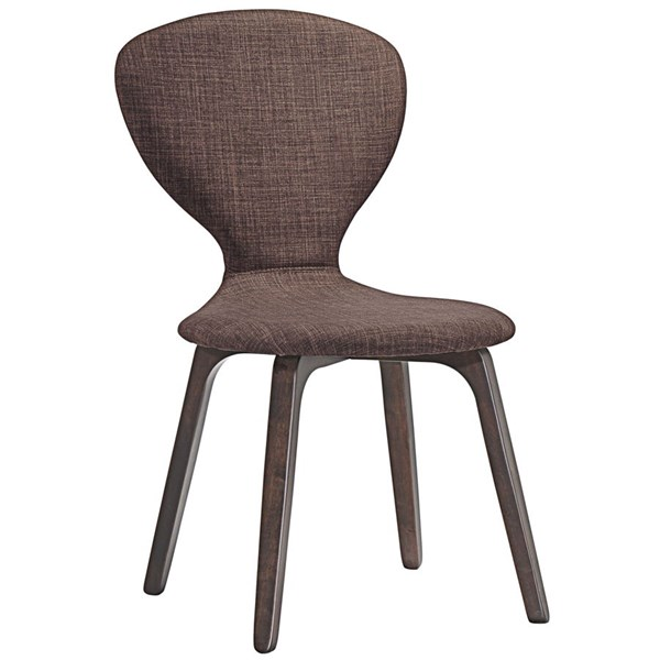 Tempest Modern Walnut Brown Wood Fabric Dining Side Chair EEI-1628-WAL-BRN