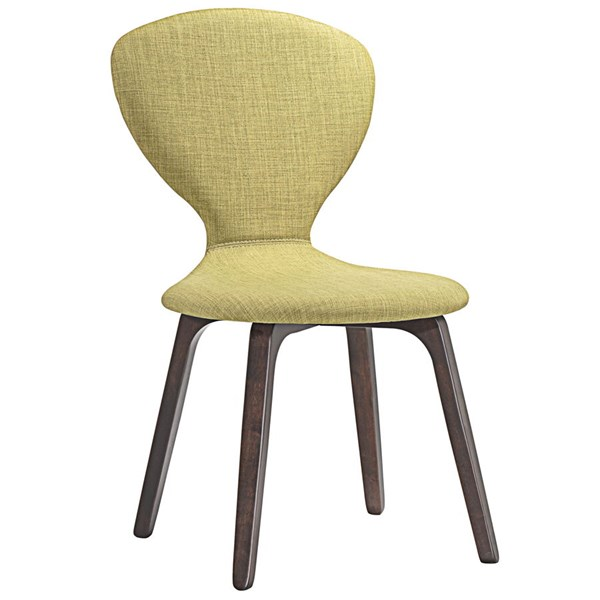 Tempest Modern Walnut Green Wood Fabric Dining Side Chair EEI-1628-WAL-GRN