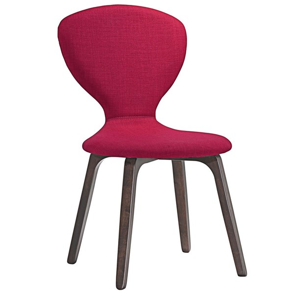 Tempest Modern Walnut Red Wood Fabric Dining Side Chair EEI-1628-WAL-RED
