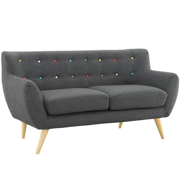 Remark Modern Gray Fabric Solid Wood Loveseat EEI-1632-GRY