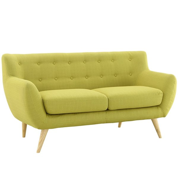 Remark Modern Wheatgrass Fabric Solid Wood Loveseat EEI-1632-WHE