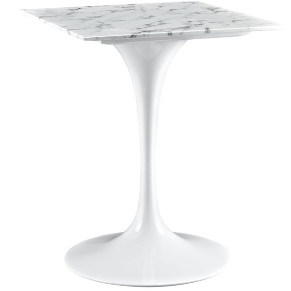 Lippa Traditional White Marble 24 Inch Dining Table EEI-1634-WHI
