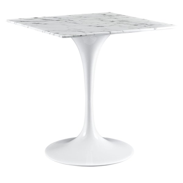 Lippa Traditional White Marble Metal 28 Inch Square Dining Table EEI-1635-WHI