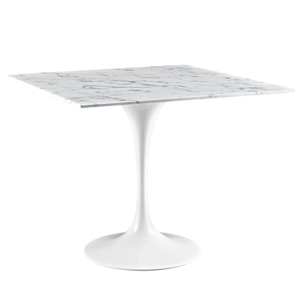 Lippa Traditional White Marble Aluminum 36 Inch Dining Table EEI-1636-WHI