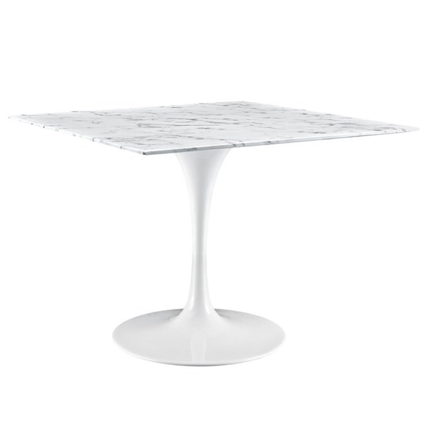 Lippa White Marble Metal 40 Inch Artificial Dining Table EEI-1637-WHI