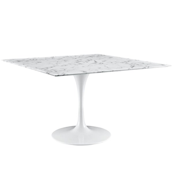 Lippa Traditional White Marble Aluminum 48 Inch Dining Table EEI-1638-WHI